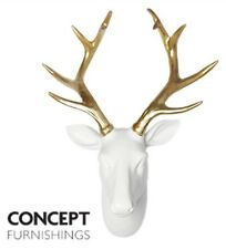 New Gold & White Stag Head Wall Mount Stunning Wall Art Decor 45cm
