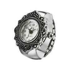 White Dial Retro Engraved Floral Bezel Steel Finger Ring Watch Quartz Lady Girl