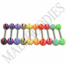 W038 Acrylic Tongue Rings Barbells 14G Bars Stripes Pattern Design 5/8 LOT of 10