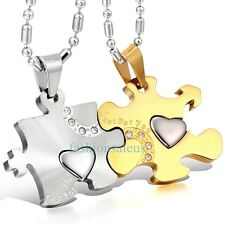 "Matching Stainless Steel ""Just For You"" Couple's Puzzle Pendant Necklaces Gold"