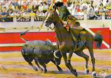 NIMES Don Alvaro Domecq dans une pose de rejon arène corrida tauromachie