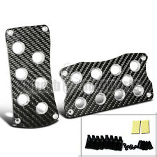 2Pcs Carbon Fiber Aluminum Gas Brake Pedals Pad Cover For Auto Transmission AT