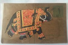 Antique OLD RAJASTHAN MINIATURE PAINTED INDIAN POSTCARD OF A Elephant Luck