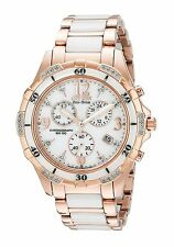 New Citizen Eco-Drive Rose Lady 32 Diamond Chronograph White Ceramic FB1233-51A