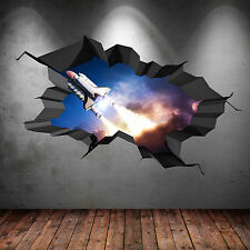 3D FULL COLOUR SPACE SHUTTLE ROCKET GALAXY CRACKED WALL ART STICKER DECAL PRINT