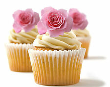 ✿ 24 Edible Rice Paper Cup Cake Toppings, Cake decs - Rose ✿