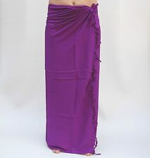 NEW UNISEX PREMIUM QUALITY PLAIN ONE COLOUR SARONG WRAP PAREO PURPLE / sa608P