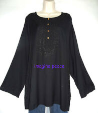 """funky~Hippie~HENNA black RAYON embroidered TUNIC Oversized TOP XL NWOT 68"""" B"""