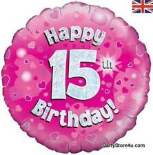 "18"" ROSA OLOGRAFICA FOIL Balloon ""Felice 15th COMPLEANNO FESTA PARTY"""
