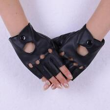 Fashion Women's Faux Leather Hollow Biker Motorcycle Mittens Dancing Gloves A86