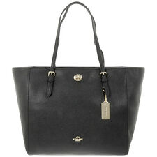 Coach Turnlock Tote Black Crossgrain Leather Ladies Handbag 57450LIBLK