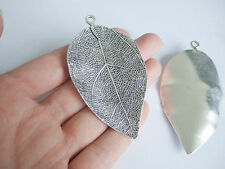 Antique Silver Tone Large Leaf Shaped Charms Pendant Jewelry DIY Making Findings
