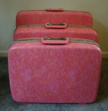 Vintage Samsonite 3 Piece Luggage Set Silhouette Hard Pink Marble Suitcases