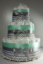 3 Tier Diaper Cake - Mint Silver/White Chevron- Boy Baby Shower Centerpiece