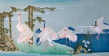 "CHINESE CONTEMPORARY RIVER CRANES GOUACHE SILK PAINTING LARGE 47"" x 79"" FRAMED"
