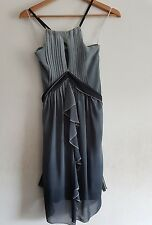 RIVER ISLAND SZ 8 GRPHICA GREY PLEATED COCKTAIL DRESS PARTY OCCASION CLUB NEW