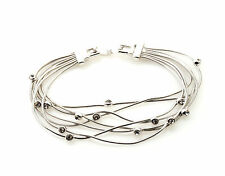 Multi Chains Platinum Plated Bracelet with Crystals Fold Over Clasps UK