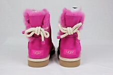UGG Selene Nautical Rope Bow Furious Fuchsia Suede Sheepskin Boots Size 6 US