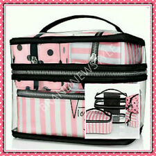 Victoria's Secret Pink/White Stripe Log Train Case 4 PIECES Travel MAKE UP BAG