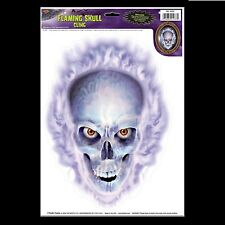 Emo Gothic Horror Prop-FLAMING SKULL CLING-Car Window Decal Halloween Decoration