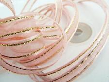 "25 yards Spool/Roll 3/8"" Organza Ribbon Gold Edged Trim/gift/9mm/Baby R11-Pink"