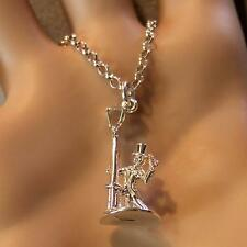 SILVER second hand drunk on lamp post pendant & chain