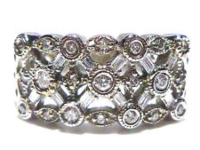 EFFY 14K WHITE GOLD ROUND & BAGUETTE .50CT DIAMOND WIDE COCKTAIL RING BAND Sz9.5