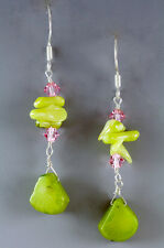 NEW GENUINE APPLE GREEN BAMBOO CORAL CRYSTALS STERLING SILVER PIERCED EARRINGS