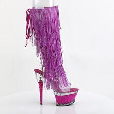 """Illusion Facet Fringe Open Toe Platform Knee Boot 6.5"""" Heel Size 11 + Fuchsia"""
