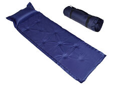 Blue Camping Mat Mattress Outdoor Sleeping Napping Pad Self-Inflating Polyester