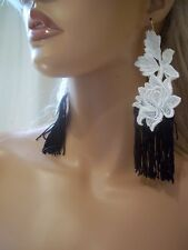 Beautiful & Sexy Black & White Lace Fringe Earrings, Bride Bridal Party Jewelry