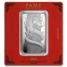 100~GRAMS ~PURE 9999 SILVER~ YEAR of the DRAGON ~PAMP SUISSE~ SEALED BAR ~$9.99