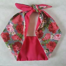 pink vintage flower 50s style rockabilly,pin up, bandana headband