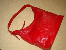 suzy smith red real leather hand bag vgc
