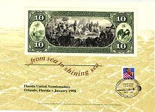 1998 B. E. P. Souvenir Card - 1865 $10 National Currency Reverse - B 224 Vc