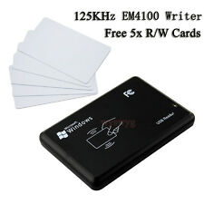 USB 125KHz RFID EM4100 TK4100 Card Reader/Writer Copier Programmer 5x R/W Cards