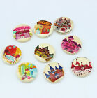 20PC 2 Holes Mixed Castle pattern Wooden Buttons Fit Sewing and Scrapbook 20mm