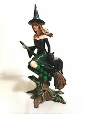 Witch on a Broom Figurine, Hand Painted, New, Still in Box