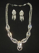 Fantastic Rhinestone Necklass & Earrings Vintage Jewlery Signed Bogoff Brilliant