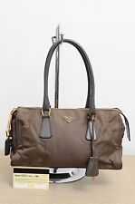 Prada BN0290 Tessuto Vitello Fumo Brown Used Authentic w/ Guarantee Card