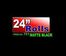 """24""""x10ft Roll Oracal 751 CAST Matte BLACK High Performance adhesive backed VINYL"""