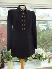 STUNNING *BAZAR by CHRISTIAN LACROIX * BLACK 100% WOOL MILITARY JACKET 42 UK 12