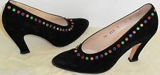 ESCADA Vintage Shoes Pumps Heels Black Suede Leather Jewels 37 7 HapaChico Haute