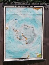 AMAZING SCHOOL PULL DOWN CHART MAP OF THE SOUTH POLE & ITS EXPLORERS  JY16-27