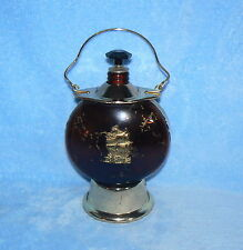 LIQUOR DECANTER AMBER GLASS WITH SHIP MUSICAL