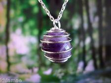 """Améthyste collier spirale en argent 18"""" chaîne pendentif pierre précieuse crystal wicca païen"""