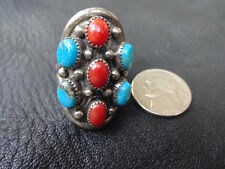Navajo Vintage Womans Ring Sz 9 Sterling Silver Turquoise & Coral