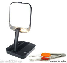 BLACK Mirror 10x Magnifying Lighted Compact Travel Adjustable with Tweezer
