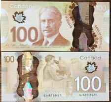 CANADA 100 DOLLAR 2011 / 2016 POLYMER P 110 NEW SIGN WILKINS & POLOZ POLYMER UNC