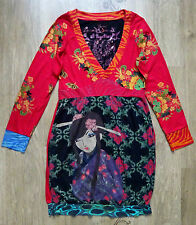 DESIGUAL Women`s Dress  Long Sleeve Floral Embroidered Tunic ,Size L (label XL)